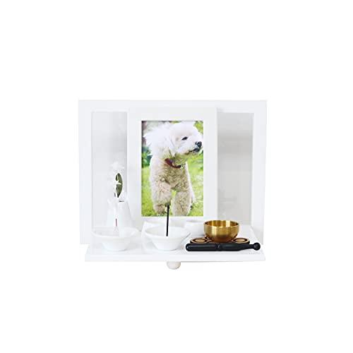 ペット仏壇 折りたたみ式スタンド メモリアルハウス 仏具 8点 セット 肉球 コルクマット おりんセット ペット供養 ペットロス (ホワイト)