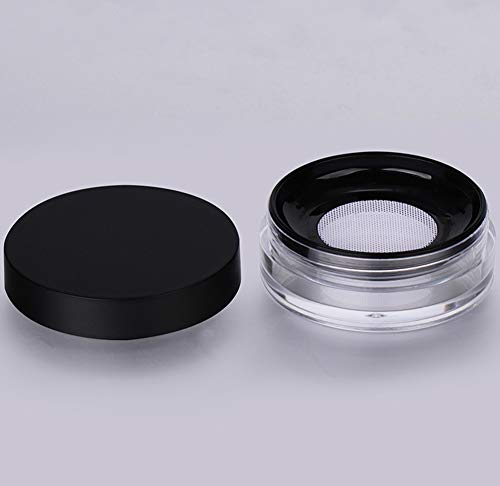 AKOAK Capacity 10 ml(0.33 oz) No Leaks Empty Reusable Plastic Loose Powder Compact Container DIY Makeup Powder Case with Sponge Powder Puff,Elasticated Net Sifter and Black Threaded Screw Lid