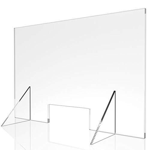 Sneeze Guard - 24' W x 16' T Acrylic Divider Protection Barrier Shield Checkout Counter Desk