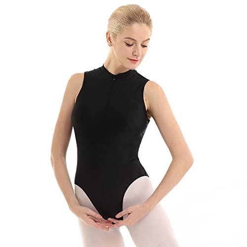 MSemis Maillot de Danza Ballet para Mujer Maillot Elástico de Gimnasia Ritmica Body Elegante de Ballet Mono Ajustado de Gimnasia Disfraz de Bailarina Negro A Large