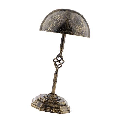 IPOTCH Vintage Support Etagère à Perruque en Métal Base Stand Display de Chapeaux de Vitrine Display - Laiton bronze