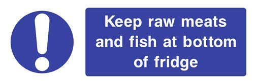 Keep Raw Meats and Fish at Bottom of Fridge Food Hygiene Zeichen Aufkleber Funny Notice Hazard Warning Sticker for Propety Vinyl Notice Lable Decal Sticker selbstklebend 40 x 15 cm