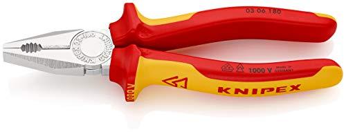 KNIPEX 03 06 180 Alicate universal cromado aislados con fundas en dos componentes, según norma VDE 180 mm