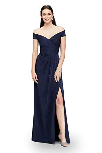 LA ORCHID Laorchid Damen cocktailkleid elegant lang Abendkleid v Ausschnitt Kleid ärmellos ballkleid Vintage Sommerkleid Sexy Partykleid schulterfrei Navy L