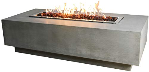 Read About Elementi Granville Outdoor Fire Pit Table 60 Inches Rectangle Firepit Concrete Patio Heat...