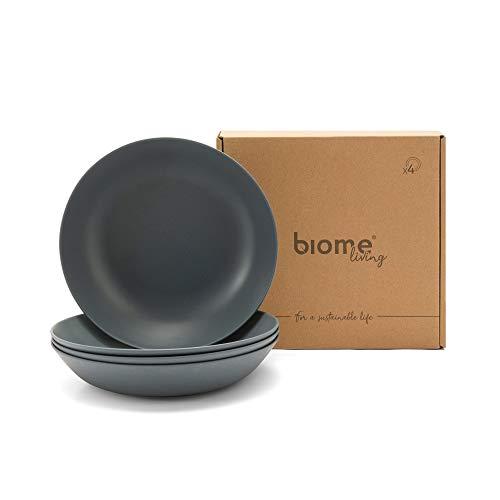 Biome Living Set de 4 platos hondos de bambú, sin BPA - Platos de bambú elegantes y ecológicos - Vajilla de bambú para adultos y niños cm. 22x22x4,5 h - Set de 4 piezas en color Gris Claro