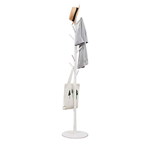 Vicllax Free Standing Coat Rack 8 Hooks Wood Clothes Hanger Stand Coat Tree (White)