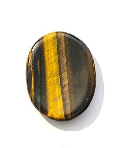CRYSTALMIRACLE Beautiful Tigers Eye Worry Stone crystal healing Reiki Thumb Stone Gift Metaphysical Wellness gemstone protective powerful Luck prosperity success