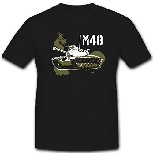 _M48-Bundeswehr Panzer US Army Amerika Patton Kampfpanzer - T Shirt #7852, Farbe:Schwarz, Größe:L