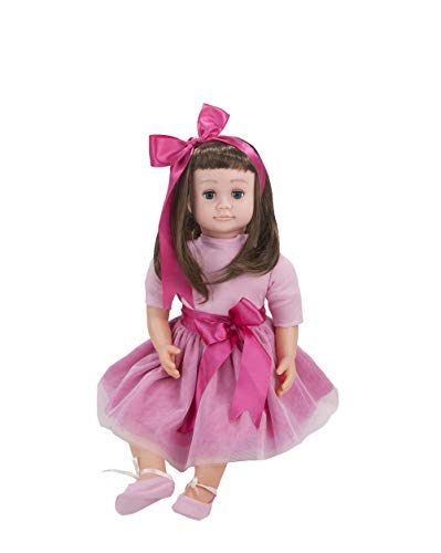 Ask Amy 22 Inch Lifelike Baby Dolls for Toddlers, 3 Year Old Girls, Kids Children Learning Toys, Interactive Talking, Singing, Educational Smart Doll Brunette Pink Sparkles Dress