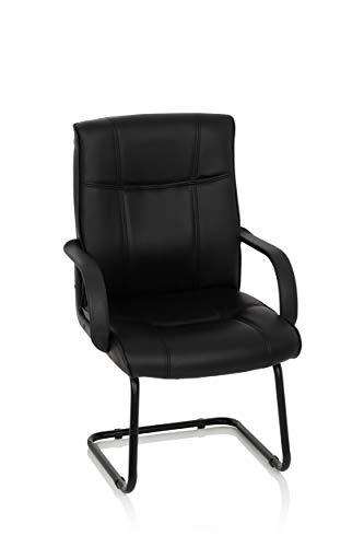 MyBuero 704540 Freischwinger Stuhl Sky 10 Kunstleder Schwarz XXL Konferenzstuhl Schwingstuhl, breite Sitzfläche