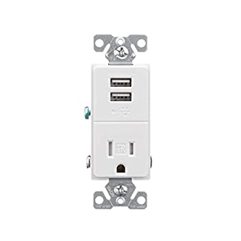 EATON TR7741W-BOX USB Charger with Single Tamper Resistant Receptacle White