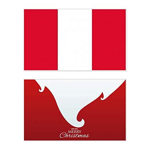 Peruanische Nationalflagge Südamerika Land Urlaub Merry Christmas Karte Weihnachten Vintage Nachricht