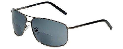 Corinne McCormack Designer Bi-Focal Reading Sunglasses Jordan in Gunmetal +2.00