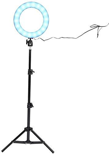 Lámpara de escritorio LED Ring Light Light 10 'Dimmable Relleno Luz Trípode Soporte Escritorio Luz de maquillaje Three-Color Cool Light y RGB Siete Color Light Ajustable para el maquillaje en vivo de