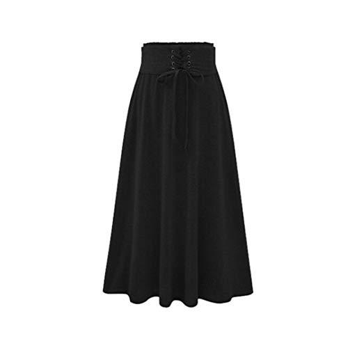 Styeclish Alta Vendaje de Cintura Plisada Faldas largas Plisadas de la Cintura elástica de Las Mujeres Talla Grande A-Line Faldas Hip Slim Long Folletas Sueltas Faldas Black XXXL