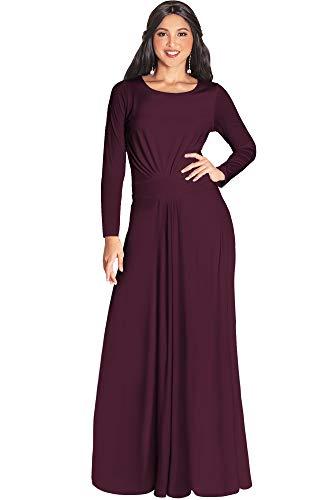 KOH KOH Womens Long Full Sleeve Sleeves Flowy Empire Waist Fall Winter Modest Formal Floor Length Abaya Muslim Gown Gowns Maxi Dress Dresses, Maroon Wine Red L 12-14