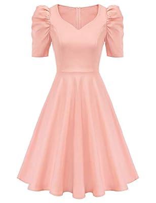 GRACE KARIN Women's Formal Dresses for Wedding Guest Elegant Sweet Cute Puff Sleeve Bridesmaid Dresses Pink S