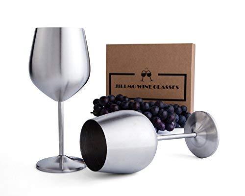 Jillmo Stainless Steel Stemmed Wine Glasses, Set of 2, 18 oz Shatterproof Wine Goblets- Dishwasher...