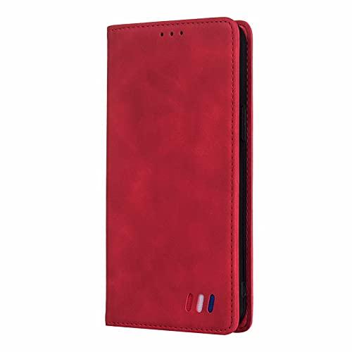 LORMI Funda para Samsung Galaxy A41, Plegable Cartera Flip Phone Cover Case, con Cierre Magnético/Tarjetero/Suporte-Rojo