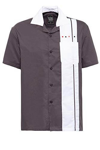 King Kerosin King Camisa de Bowling, Negro, M para Hombre