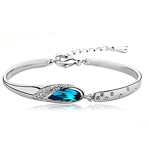 Pulsera de cristal Belasa, pulseras de diamantes de imitación azul plateado, accesorios de mano ajustables brillantes, joyería para mujeres y niñas