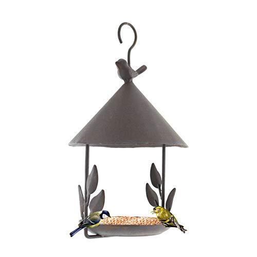YHNJI Bandeja colgante para comedero de pájaros, plataforma de metal, bandeja de semillas de hierro arte pequeña casa comedero de colibrí para decoración de jardín al aire libre