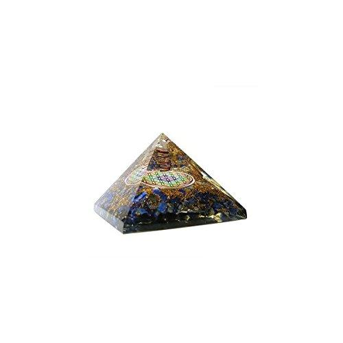 Orgonit in Pyramidenform mit mehrfarbiger Blume des Lebens