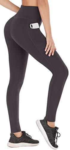 Heathyoga Yoga Pants with Pockets for Women High Waisted Leggings with Pockets for Women Workout Leggings Tummy Control Coffee