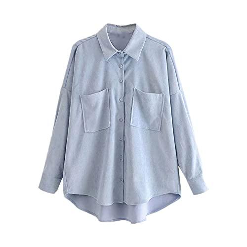 N\P Mujeres Moda Bolsillos Oversize Pana Camisas Vintage Manga Larga, azul, L