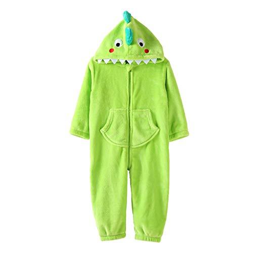 Ensembles de pyjama Pyjamas pour garçons et Filles Pyjamas d'automne et d'hiver Siamois Home Service Pyjamas Chauds pour Enfants (Color : Green, Size : 120cm)