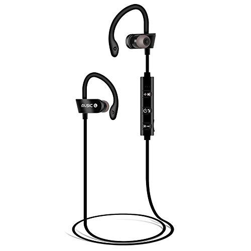 Bluetooth Kopfhörer, Kopfhörer Sport, Sportkopfhörer Joggen/Laufen Bluetooth 4.1, In Ear Kopfhörer mit Mikrofon für iPhone Android (Schwarz)