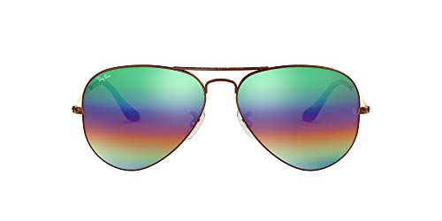Ray-Ban RB 3025 Gafas de sol, Marrón (Green Rainbow Flash), 58 para Hombre