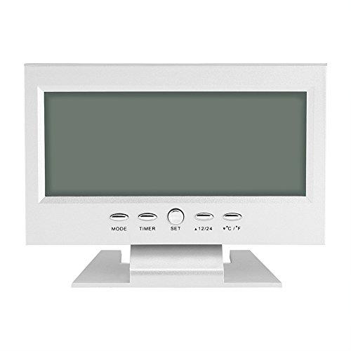 Yosoo - Reloj digital multifunción con control de sonido, pantalla LCD grande, con calendario, semana, indicador de temperatura, Snooze (plata)