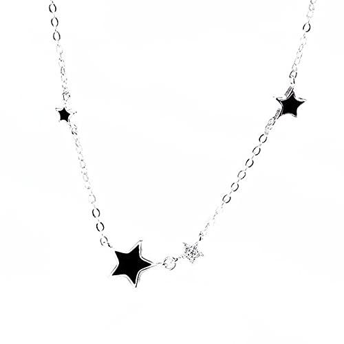 ShFhhwrl Collar Collares De Cadena De Clavícula De Cristal De Temperamento Negro Estrella De Cinco Puntas Epoxi De Moda Simple