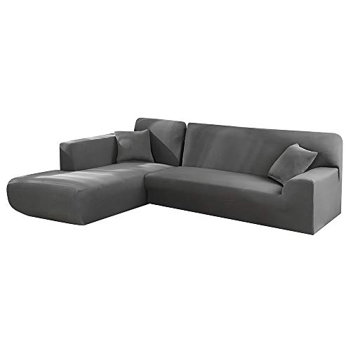 Elastischer Bezug für Sofa und mit Halbinsel, Chaise Longue, modularer Sofa-Bezug aus Polyester, L-Form, 2 Stck. 3 Posti+3 Posti grau