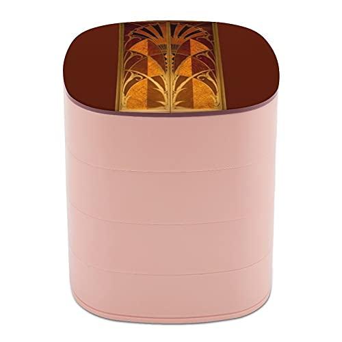 Ruotare il portagioie, scatola portagioie a 4 strati, girevole a 360 gradi, custodia creativa per anelli, orecchini, collane, ciondoli, ciondoli, bordeaux e oro Art Deco