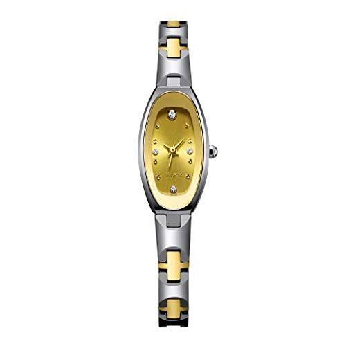 WDFDZSW Reloj de cuarzo fácil de leer for mujeres con pantalla analógica y brazalete de acero inoxidable, pulsera de acero de tungsteno Reloj de mujer Diamante Movimiento japonés Movimiento de tungste