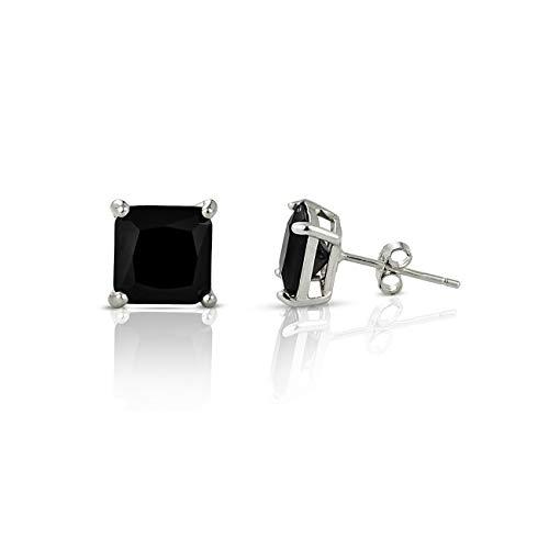 inSCINTILLE Lucciole - Pendientes con punto de luz cuadrado de plata, varios colores Negro