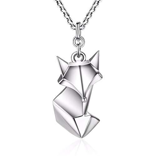 Bbyaki Cute Fox Plegable Anmial Collares Y Colgantes para Mujeres 925 Plata...