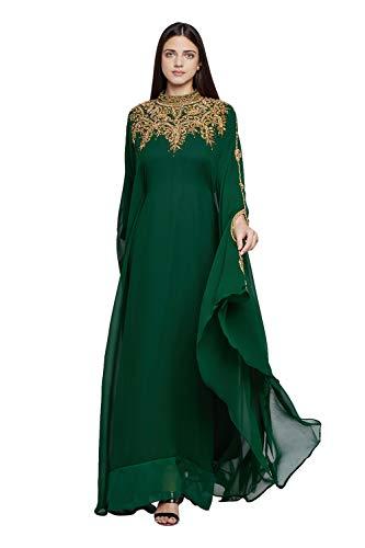 ANIIQ Georgette Abendkleid mit besticktem Farasha Kaftan, lang, mit Hijab SNM804, Ganz bedeckt, gruen, Einheitsgröße