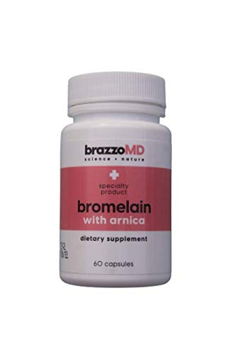 brazzoMD Bromelain with Arnica Tablets, 60 tablets, Plastic Surgeon developed to reduce bruising, swelling, inflammation, and pain, and to assist in natural healing