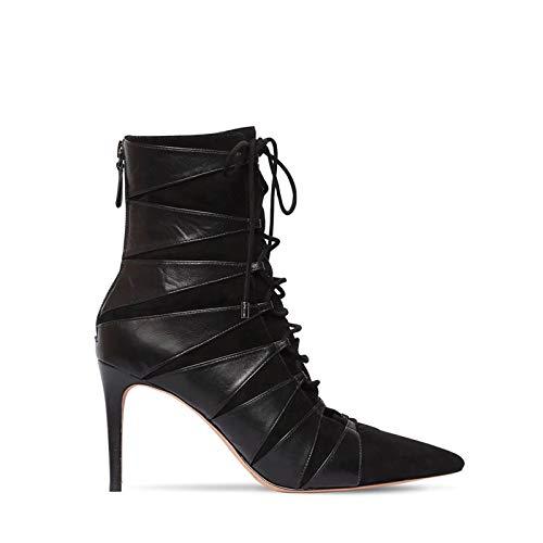 XSY Herbst Hohe Spitze Stiefel,Heels Stiletto Stretch Damen Overknee Boots Damenschuhe Pump High Heels Schwarz Toe Schuhe Frauen Stiefeletten Stöckelschuhe,Schwarz,38