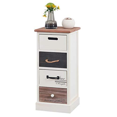 CARO-Möbel Schubladenregal Laguna Kommode Standregal Aufbewahrungsregal in weiß, Shabby Chic Vintage Look, mit 4 Schubladen