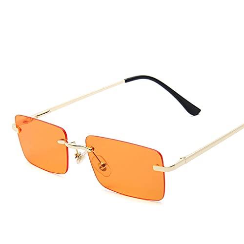 AMFG Gafas de sol sin montura para hombres y mujeres Pequeño marco marino hoja de sol primavera gafas de sol para viajes al aire libre (Color : G)