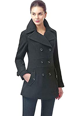 BGSD Women's Joann Wool Blend Pea Coat, Black, Plus Size 3X from