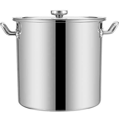 Heavy 16 Large cooking pot - 40cm / 50L - large stock pan with stainless steel lid and heat-resistant handles