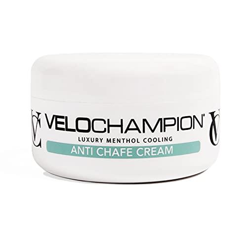 VeloChampion Crème Chamois Anti-frottement 150ml. pour Les Cyclistes et Les Coureurs. Empêche Les frottements et l'inconfort. (Crème de Chamois au Menthol 150ml)