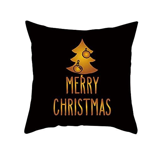 WUSUOWEIJU Funda Cojin Árbol De Navidad,Funda De Cojín Funda De Almohada De Microfibra Decorativa para Sofá para Decoración del Hogar,45 X 45 Cm con Cremallera Invisible
