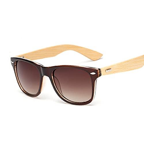 FEINENGSHUAInstyj Gafas Sol Mujer, Gafas de Sol de Madera Ladies Square Bambú Tejido Gafas de Sol Retro Retro Remaches para Hombres Y Mujeres (Color : Double Brown)
